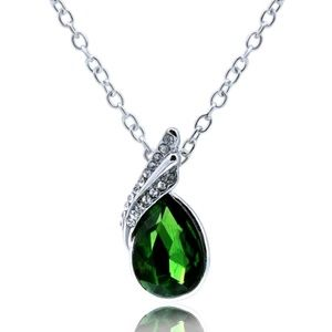Fasion Silver Green Water Droplet Pendant Necklace